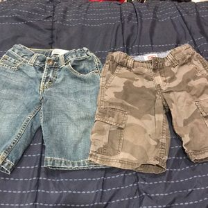 Two Levi shorts-One  jean and one grey camo/cargo